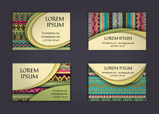 Business card or visiting card template with boho style pattern background.corporate identity design. Flyer Layout. Stock Photo