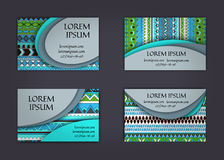 Business card or visiting card template with boho style pattern background.corporate identity design. Flyer Layout. Stock Image