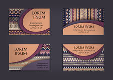 Business card or visiting card template with boho style pattern background.corporate identity design. Flyer Layout. Royalty Free Stock Photography
