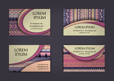 Business card or visiting card template with boho style pattern background.corporate identity design. Flyer Layout. Stock Images