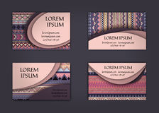 Business card or visiting card template with boho style pattern background.corporate identity design. Flyer Layout. Royalty Free Stock Photos
