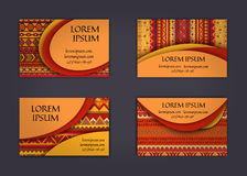 Business card or visiting card template with boho style pattern background.corporate identity design. Flyer Layout. Royalty Free Stock Image