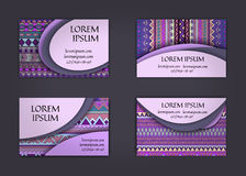 Business card or visiting card template with boho style pattern background.corporate identity design. Flyer Layout. Royalty Free Stock Images