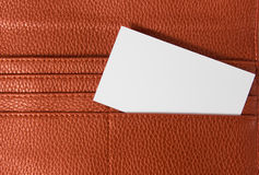 Business card in wallet  on white background Stock Photo
