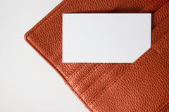 Business card in wallet  on white background Stock Photos