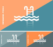Business card or web banner with swimming pool icon Stock Images