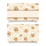 Business card with white roses. Vector EPS-10. Business card with pattern with white roses Stock Images