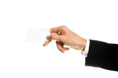 Business card or white sign in hand. Stock Image