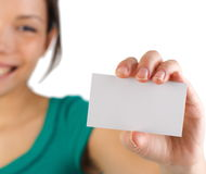 Business card woman Stock Images