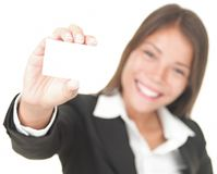 Business card woman Royalty Free Stock Photos