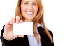 Business card woman stock image