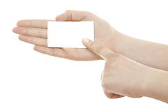 Business  card in woman hand Stock Image