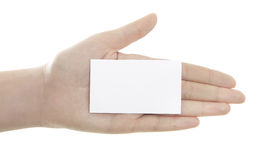 Business  card in woman hand Stock Photos