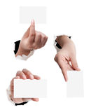 Business card in woman hand Stock Images