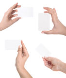 Business  card in woman hand Royalty Free Stock Photography