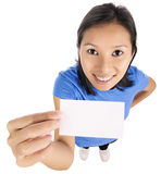 Business card woman Royalty Free Stock Photo