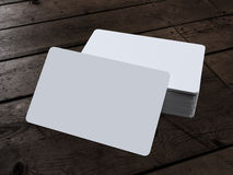 Business Card on Wood. On a white background. 3d render Royalty Free Stock Images