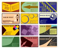 Business cards. Forms.Complete set of different Different theme and different coloured registration.Vectorial illustration Royalty Free Stock Photo