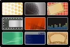 Business Cards. Nine color business cards on a black background stock illustration