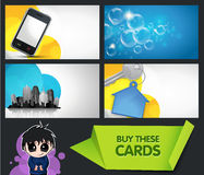 Business cards. Set of modern business cards with extra bonus elements Stock Photo
