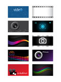 Business cards. Horizontal cards for photographers and video of operators Stock Photos