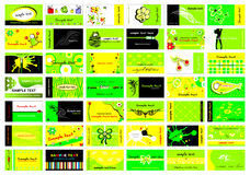 Business cards. Set of 42 business cards in bright green Stock Images