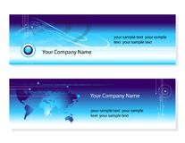 Business cards. Two business cards for your company. world-map, wires and binary-code graphic elements Stock Photos