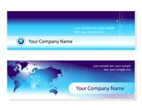 Business cards. Two business cards for your company. world-map wires and binary-code graphic elements