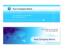Business cards. Two business cards for your company. world-map wires and binary-code graphic elements Royalty Free Stock Photography