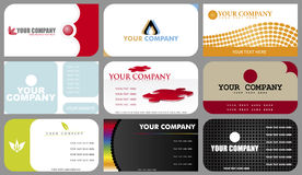 Business Cards. A set of nine designs of business cards Stock Image