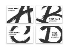 Business cards with abstract black paint smears Royalty Free Stock Photo