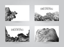 Business cards with abstract cloud of ink drawn by hand with col Royalty Free Stock Photography