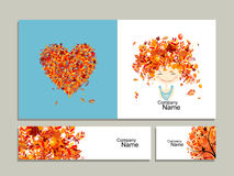 Business cards, autumn girl for your design Royalty Free Stock Image