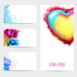 Business cards, banners with watercolors, Stock Photo