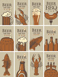Business cards on beer and snacks stock illustration