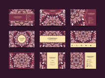 Business cards big set. Vector vintage design Floral mandala pattern and ornaments. Oriental design Layout. Islam, Arabic, Indian, ottoman motifs. Front page Royalty Free Stock Images