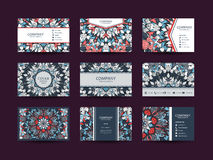 Business cards big set. Vector vintage design Floral mandala pattern and ornaments. Oriental design Layout. Islam, Arabic, Indian, ottoman motifs. Front page Royalty Free Stock Photos
