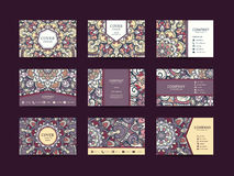 Business cards big set. Vector vintage design Floral mandala pattern and ornaments. Oriental design Layout. Islam, Arabic, Indian, ottoman motifs. Front page Stock Images