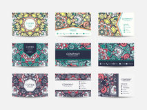 Business cards big set. Vector vintage design Floral mandala pattern and ornaments. Oriental design Layout. Islam, Arabic, Indian, ottoman motifs. Front page Royalty Free Stock Image