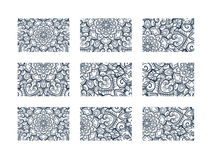 Business cards big set. Vector vintage design Floral mandala pattern and ornaments. Oriental design Layout. Islam, Arabic, Indian, ottoman motifs. Front page Royalty Free Stock Photo