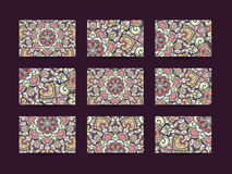 Business cards big set. Vector vintage design Floral mandala pattern and ornaments. Oriental design Layout. Islam, Arabic, Indian, ottoman motifs. Front page Royalty Free Stock Photography