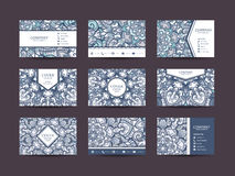 Business cards big set. Vector vintage design Floral mandala pattern and ornaments. Oriental design Layout. Islam, Arabic, Indian, ottoman motifs. Front page Stock Photo