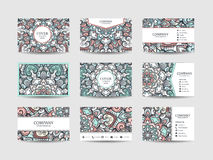 Business cards big set. Vector vintage design Floral mandala pattern and ornaments. Oriental design Layout. Islam, Arabic, Indian, ottoman motifs. Front page vector illustration