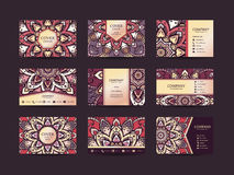 Business cards big set. Vector vintage design Floral mandala pattern and ornaments. Oriental design Layout. Islam, Arabic, Indian, ottoman motifs. Front page stock illustration