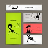 Business cards with black cats for your design Royalty Free Stock Photos