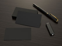 Business cards blank mockup on wood background Royalty Free Stock Images