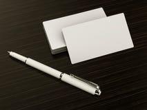 Business cards blank mockup on wood background Stock Image