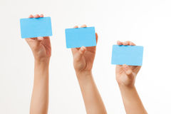 Business cards and blank signs Stock Images