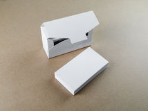 Business cards and box. Blank business cards and a box for them on the table. Template for branding identity Royalty Free Stock Photo