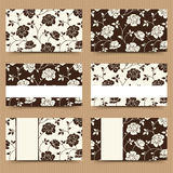 Business cards with brown and white floral pattern. Vector illustration. Stock Images